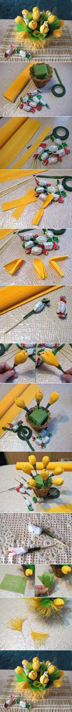 DIY Yellow Flower Candy Bouquet: