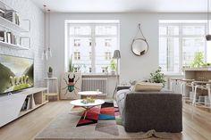 17 Best Scandinavian Interior Ideas For Sweet Home Design Colorful Interior Design, Scandinavian Interior Design, Colorful Interiors, Apartment Interior, Apartment Design, Open Plan Apartment, Sweet Home Design, Scandinavian Style Home, Nordic Style