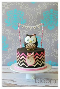 Chocolate Cake with Pink & Green Ombré Chevron Stripes and Brown Owl Topper with Bunting