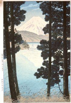 Mt. Fuji from Lake Ashinoko, Hakone, by Kasamatsu Shirō, May 1935 -- See also at: http://www.hanga.com/viewimage.cfm?ID=2597