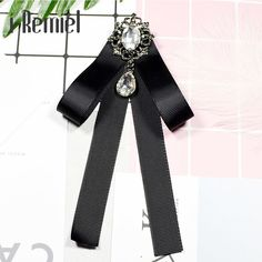 365cd8bfd4b US $3.28 31% OFF|i Remiel Crystal Ribbon Bow Tie Bowknot Brooches Fabric  Pins Shirt Collar Fashion Bowtie Brooch Black Pin Cute for Women Gift-in  Brooches ...