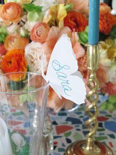 Mariposas para poner en las copas. Indicaciones con plantilla.   Ideas y material gratis para fiestas y celebraciones Oh My Fiesta!