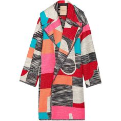 Roksanda Marles patchwork woven coat (13.160 RON) ❤ liked on Polyvore featuring outerwear, coats, jackets, coats & jackets, pink, colorful coat, oversized coat, cocoon coat, pink oversized coat and multi colored coat