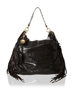 Stella & Jamie Mona Embossed Leather Fringe Shoulder Bag 100
