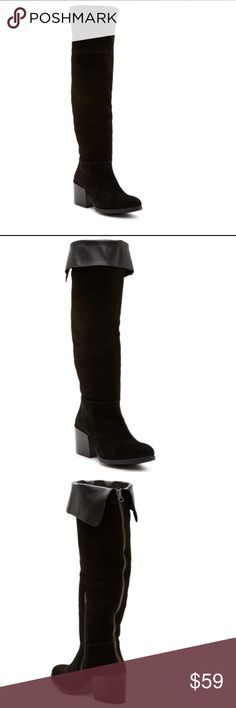 """Brand New - Steve Madden - Orabela Knee High Boot - Sizing: Runs small; order 1/2 size up.  - Round toe  - Vented collar  - Back and side zip closure  - Block heel  - Approx. 2.5"""" heel  - Approx. 20"""" shaft height, 16"""" opening circumference  - Imported  Materials  Suede upper/synthetic and textile lining/synthetic sole  - Vented collar  - Back and side zip closure  - Block heel  - Approx. 2.5"""" heel  - Approx. 20"""" shaft height, 16"""" opening circumference  - Imported  - Suede upper/synthetic and…"""