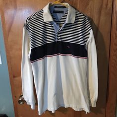 Tommy Hilfiger Men's Navy Bone Red Striped Long Sleeve Pique Knit Polo Shirt L #TommyHilfiger #PoloRugby