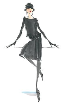 the Chanel Jersey Dress, fashion illustrator Donna Mehalko