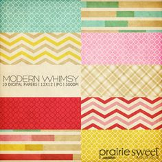Prairie Sweet Boutique | Photoshop Templates for Photographers / Modern Whimsy Digital Paper Collection (10 JPG FILES – 12×12 | 300DPI)