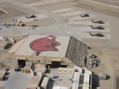 Hogs logo on a base in Iraq! True Razorbacks fan!!!!