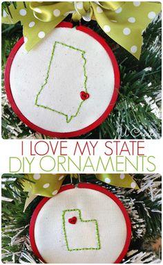 """I Love My State"" stitched ornaments by U Create"