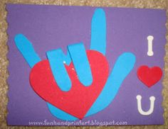 Handprint and Footprint Art : Sign Language I Love You Handprint for Valentine's Day
