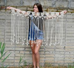 Large Macrame wall hanging Macrame wall art Macrame curtain Bohemian Banner Macrame Boho decor Backdrop Macrame garland Cotton cord - All For Decoration Macrame Design, Macrame Art, Macrame Projects, Macrame Knots, Art Macramé, Diy Curtains, Patterned Curtains, Rustic Curtains, Blue Curtains