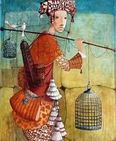 Date of birth Tbilisi, Georgia. EDUCATION: Tbilisi Fine Arts School, faculty of ceramics. Art Du Monde, Fine Arts School, Art Et Illustration, Inspiration Art, Art Graphique, Naive Art, Figure Painting, Oeuvre D'art, Collage