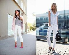 How to combine white trousers? White Trousers, White Jeans, Jean Outfits, Casual Outfits, Spring Trends, Spring 2014, Summer Work Outfits, 2014 Trends, Work Casual