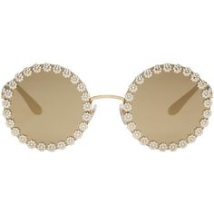 Dolce and Gabbana Gold Studded Daisy Sunglasses ($705) ❤ liked on Polyvore featuring accessories, eyewear, sunglasses, gold, engraved glasses, dolce gabbana sunglasses, round sunglasses, rounded sunglasses and dolce gabbana glasses