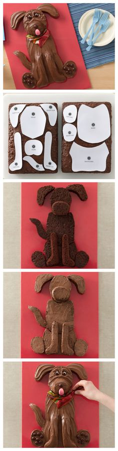 Cute! Chocolate Lab Dog Cake and template!