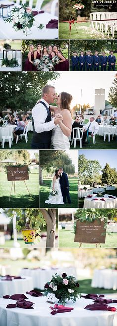 Garden romance wedding at Honalee Farm and Event Center in Boise, Idaho with photography by Amy Galbraith Photography. Maroon, blush and ivory wedding decor and satin wedding gown.