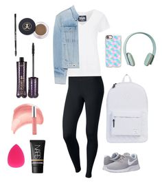 """""""Travel outfit + makeup"""" by ella-funk ❤ liked on Polyvore featuring NIKE, Superdry, rag & bone, Herschel Supply Co., Zimmermann, Casetify, tarte, FACE Stockholm, The BrowGal and NARS Cosmetics"""