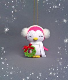 Christmas Ornament Felt Penguin Girl Christmas Tree by BelkaUA
