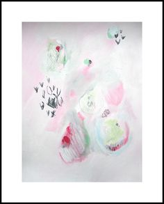 Abstract painting, white, pink, green, modern painting on Etsy, $80.00