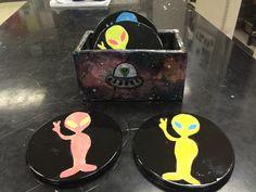 Intro to Ceramics, Seaman High School. Coasters & container.
