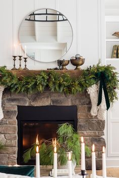 Green and Brass Christmas Living Room - The Lilypad Cottage-Green and Brass Christmas Living Room – The Lilypad Cottage Simple and elegant Christmas mantel decor - Classic Christmas Decorations, Christmas Mantels, Christmas Home, Holiday Decor, Silver Christmas, Vintage Christmas, Christmas Villages, Victorian Christmas, Christmas Mantle Decorations