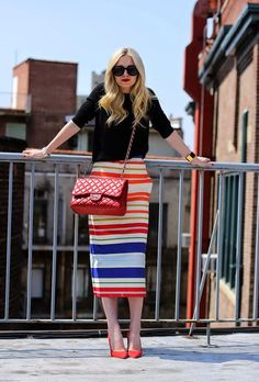 5. Rainbow Striped Skirt With Black Top 2017 Street Style