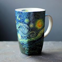 "Collect one of the world's most famous masterpieces on fine bone china. Sip from this artful mug and be entranced by the movement and dark beauty of Van Gogh's The Starry Night. Undoubtedly one of the most celebrated paintings of our time, The Starry Night and its iconic cypress trees and dancing stars embrace the wonder of nature. Van Gogh wrote to his brother Theo in February, 1888, ""I...need a starry night with cypresses or—perhaps above a field of ripe wheat"