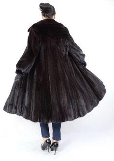 d86362effba503 US197 BEAUTIFUL DARK RANCH MINK FUR COAT FEMALE SKINS SIZE~ XL - NERZMANTEL   FurFashionBiseggerinGermany