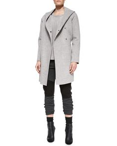 Wool Hooded Coat, Snake-Embossed Short-Sleeve Leather Tee & Quilted-Detail Jersey Sweatpants by Vince at Neiman Marcus.