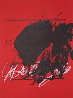 "Antoni Tapies – Affiche avant la lettre ""U no és ningu"" / Nobody is a nobody, original color lithograph, 1979"