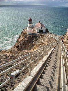 Point Reyes Lighthouse, California. The stairway is exciting and it deposits you in what feels like the middle of the ocean. A fantastically beautiful place. Photo by Michael Card.