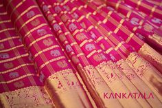 This crimson pink kanchipuram silk saree from Kankatala is adorned with silver and gold buttas of peacocks, elepahants, sacred cows and yallis inspired from the architectures of ancient India Temples. Follow us to hear when we go online. #kanchipuram #kankatala #animalmotifs #saree #weave #motifs Saris, Silk Sarees, Peacocks, Cows, Temples, Weave, Blouses, India, Traditional