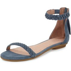 Joie Amina Bare Braided Flat Sandal ($230) ❤ liked on Polyvore featuring shoes, sandals, dusk, flat shoes, tassel sandals, suede sandals, suede flat sandals and woven flats