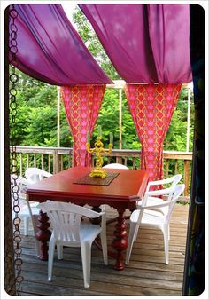 cute deck covering - need way to make it look less pole-ish...