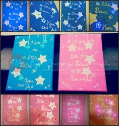 21x15 hand painted canvas with led lighting, perfect gift for a new or future mother di MoonlightCreazioni su Etsy