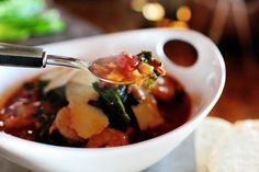 Tuscan Bean Soup with Shrimp by thepioneerwoman #Soup #Bean_Soup #Shrimp #thepioneerwoman