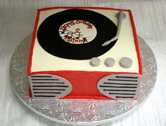 Retro 50s party. Record player cake. Dessert Works. Westwood, MA