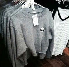 sweater grey sweater grunge sweater black top alien shirt grunge cute collage…