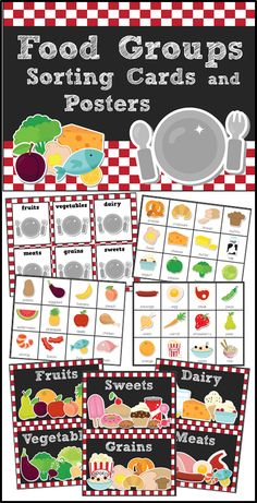 Food Groups Pack - sorting cards, game, and posters for young learners