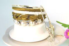 All-match Leaf Pendant Multilayer Khaki Bracelets for Women