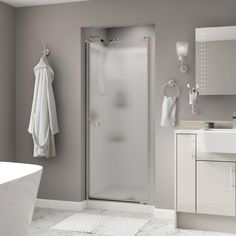 Delta Silverton 33 in. x 64-3/4 in. Semi-Frameless Contemporary Pivot Shower Door in Nickel with Rain Glass
