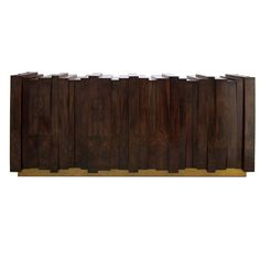 Four Door Walnut Wood and Brass Nazca Sideboard by Brabbu from Europe | From a unique collection of antique and modern sideboards at https://www.1stdibs.com/furniture/storage-case-pieces/sideboards/
