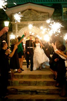 Amber and Mike: I loved how the sparklers were such a fun way to have an exiting exit of our wedding day! They were perfect to brighten up the dark sky as we left and created an awesome photography moment!  - Tessa Marie Photography