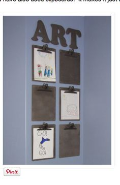 This would be cute to do with decorated clipboards teamed for each child so that they can hang their own newest creation to show off on their personalized clipboards. Have a few for each kid.