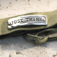 """Just Think Green Leather Bracelet 8"""" Adjustable leather bracelet."""