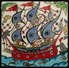 sonat'ın hazineleri Turkish Tiles, Turkish Art, Ceramic Tile Art, Mosaic Art, Fish Pond Gardens, Nautical Quilt, Image Glass, Tile Design, Quilting Designs