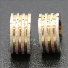 Free Shipping Wholesale Brand New Design Women Girl Stainless Steel Gold Plated Stripe Huggie Hoop Earrings