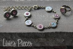 45 Caliber Jewelry Set - Upcycled Bullet Casing - Pink Swarovski Center - Lisie's Pieces