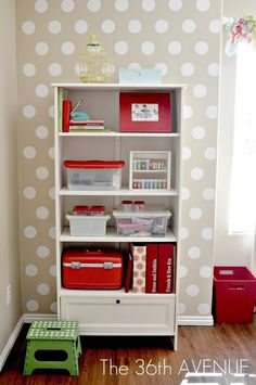 how to organize everything and polka dot walls.